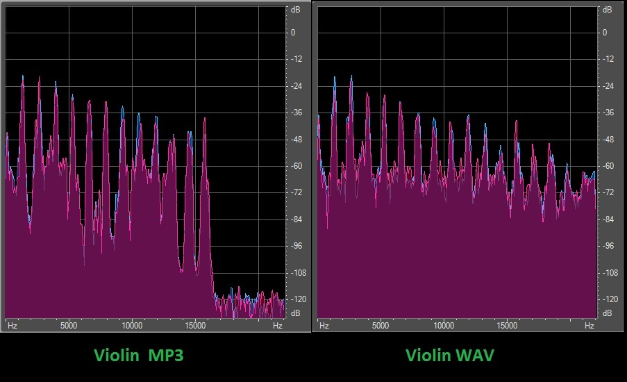 Violin difference between WAV and MP3